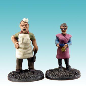 Sid und Nancy sind als Verkäufer bzw. Koch in den Fast Food Butzen des AGGRO Stadions gedacht, lassen sich aber sicherlich auch woanders einsetzen.