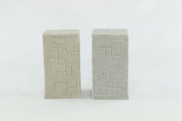 3cm x 5cm high. Square Stone Pillar x2