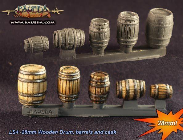 28mm Wooden Drum, barrels and cask (15 pcs.)