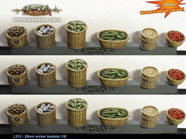 28mm wicker baskets (18 pcs.) / Flechtkörbe / Weidenkörbe