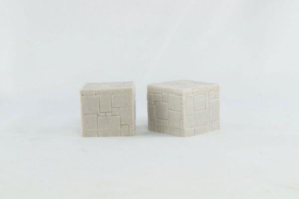 3cm x 2.5cm high Square Stone Pillar x2