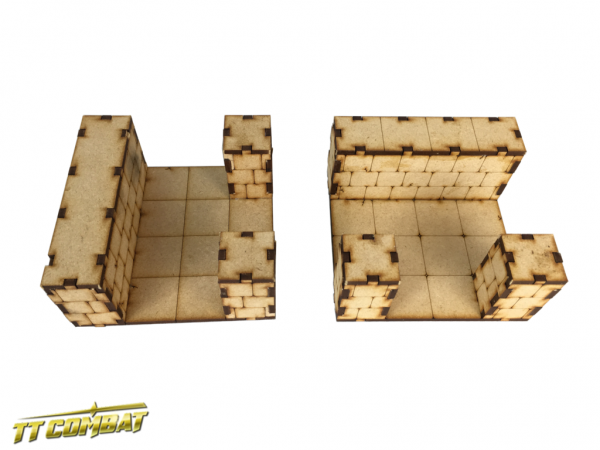 Deluxe Dungeon Sections 2 x T-Junction - Fantasy Scenics