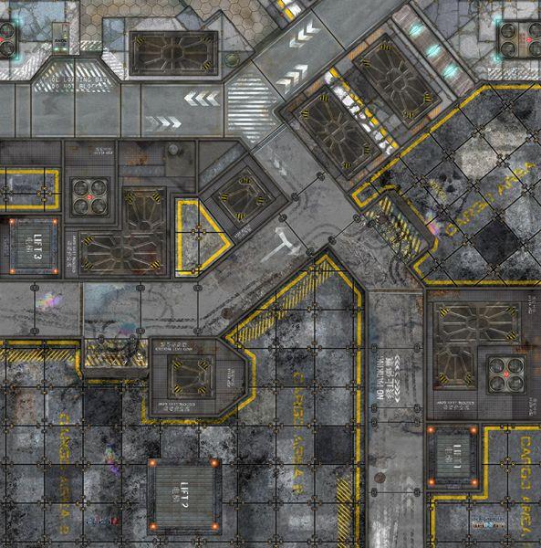 Dieses Motiv ist auf der Matte. Ein Industriegebiet mit diversen Straßen und Platz für Gebäude und Zäune.