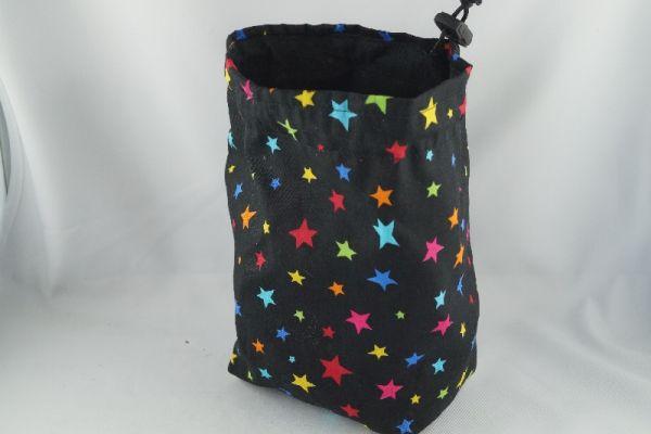 Dicebag - Colorfull Stars (schwarz mit bunten Sternen / innen schwarz)