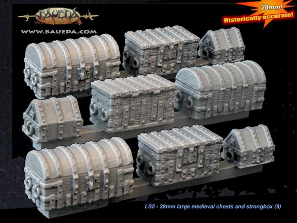 Large medieval Chests and Strongbox (9 pcs.) / Gepanzerte Kisten