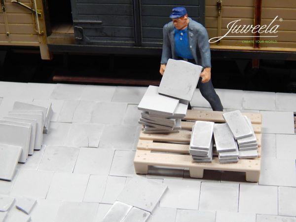 1:45 1:50 Gehwegplatten 25x50 - grau dunkel, 260x