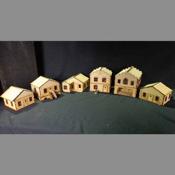 6 House Set - Old Town Scenics Sparset