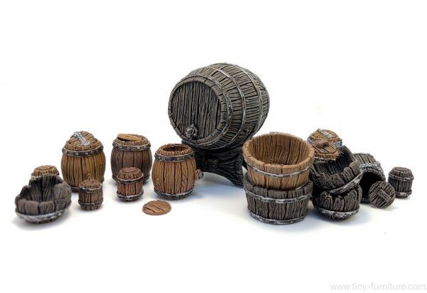 Wooden Barrels Set / Holzfässer Set