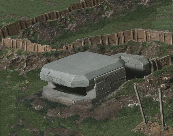 Der Bunker lässt sich einfach auf die Platte stellen oder in die Tabletop Platte einarbeiten.