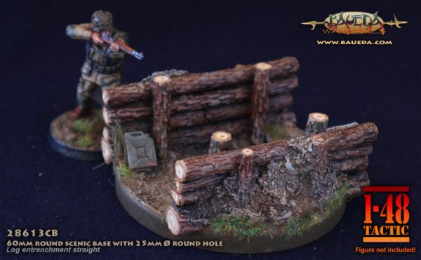 Wooden Barricade Straight - 60mm Round Scenic Base