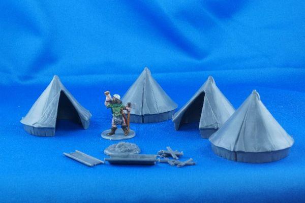 Die Zelte wirken klein, sind aber in einem prima Maßstab - der genau passt.