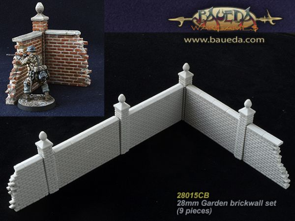 28mm Garden brickwall set (9 pieces) / Ziegelmauer Set