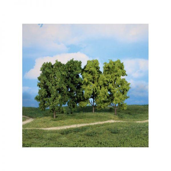 4 Bäume mit unterschiedlichen Grüntönungen der Blätter
