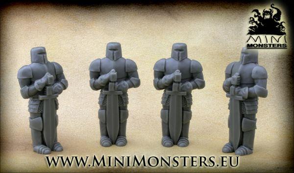 Die Statuen sind ca. 58mm hoch und zeigen einen Ritter in Vollrüstung