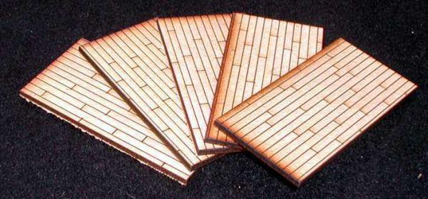 Diese 5 Bodenplatten mit Holzbodenoptik sind im Lieferumfang enthalten. Modulares Terra-Blocks™ Gelände von Sally 4th